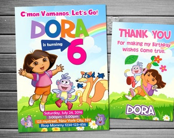 Dora the explorer Birthday photo Invitation, chalkboard Invitation, Printable Dora The Explorer, Custom Invite, free card thanks!