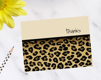 Personalized, stationery, Leopard Print Note Cards