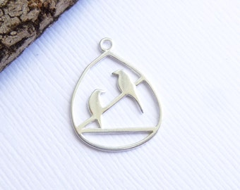 Sterling Silver Birds on a Wire Pendant -- 1 Piece