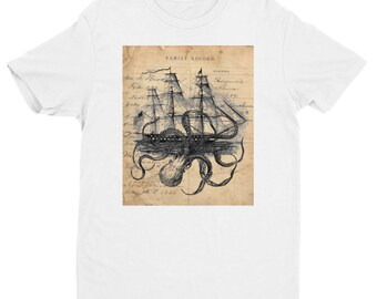 Octopus kraken attacking Ship on Ledger Short Sleeve T-shirt T990044