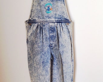 Girls Acid Wash Charlotte Hornets Overalls Size Large Deadstock