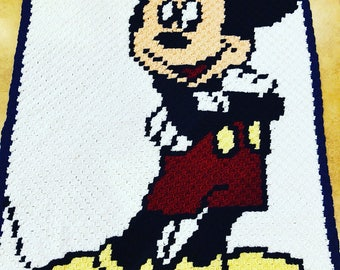 Crocheted Mickey Mouse queen size blanket