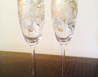 Gold and Silver painted Champagne Flutes
