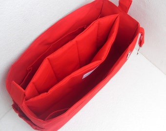 Purse organizer with iPad Case fits LV Neverfull PM- Bag organizer insert in Rich red