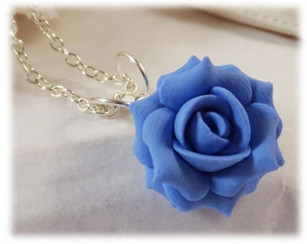 Dainty Blue Rose Necklace - Blue Rose Jewelry, Small Blue Flower Necklace