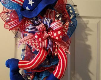 PATRIOTIC Uncle Sam wreath-swag