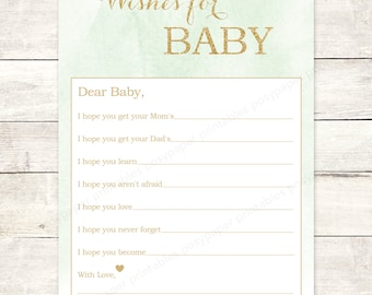 wishes for baby shower printable DIY mint green gold glitter watercolor watercolour baby gender neutral shower games - INSTANT DOWNLOAD