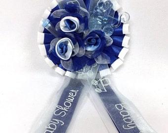 Baby Shower Royal Blue Rose Bouquet Badge Favor