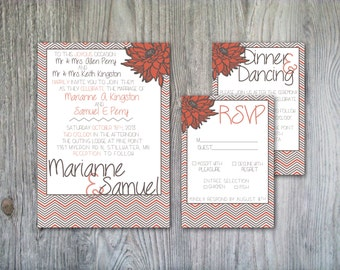 Flower Accented Salmon and Gray Chevron Wedding Invitation Set - Print it Yourself or Printed for You