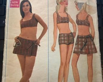 Vintage 60s Butterick 4840 Swimsuit/Skirt Pattern-Size 10 (32 1/2-24-34 1/2)