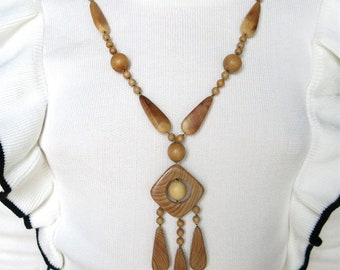 Nohea Hand Crafted Artisan Wooden Ethnic Bohemian Necklace Women's Pendant Jewelry