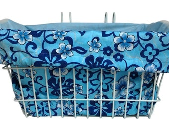 Bike Basket liner Blue Hibiscus