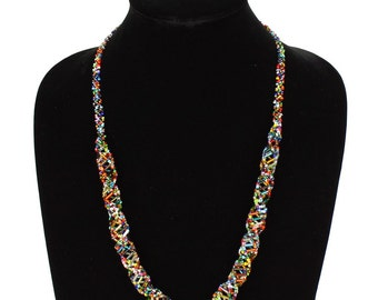 Hand beaded multicolored DNA helix necklace, magnetic clasp, 24 inches #101