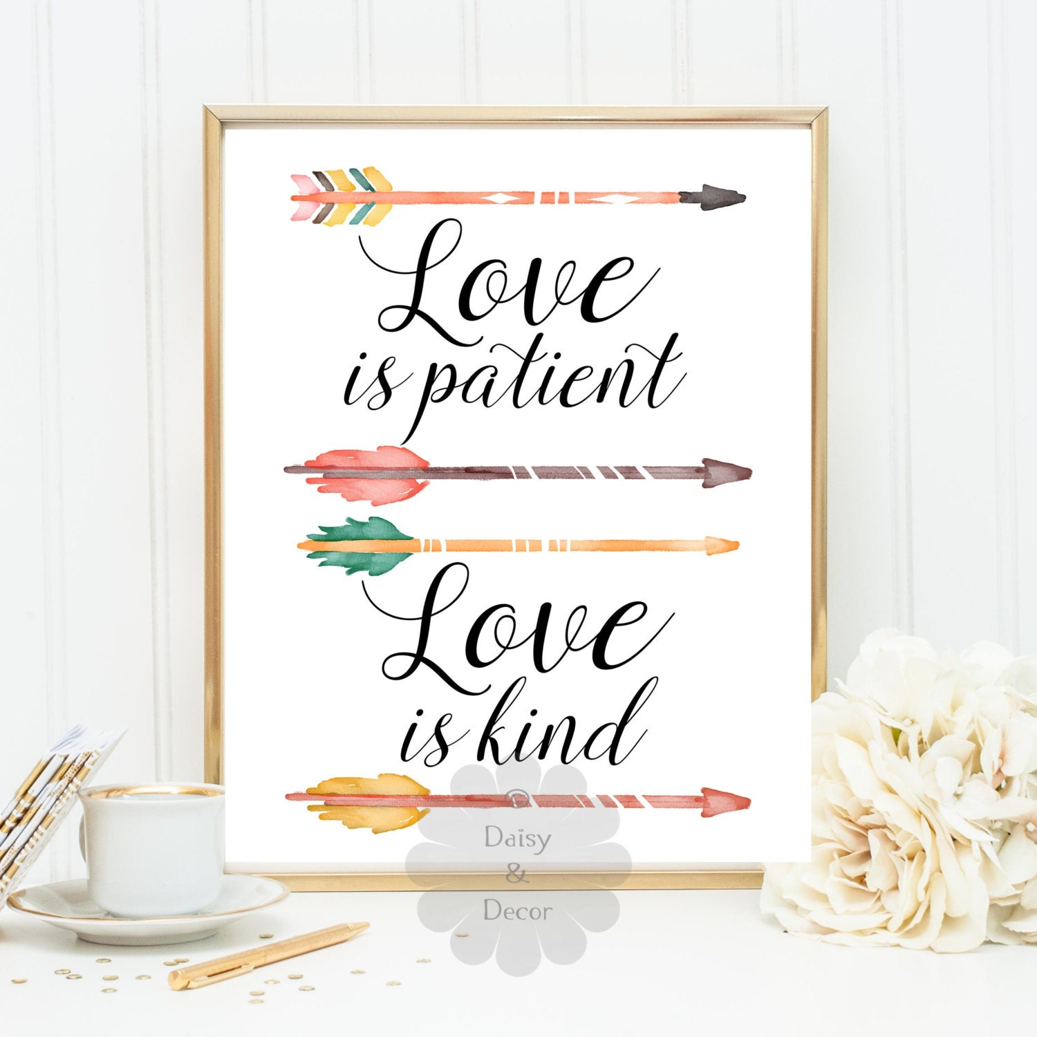 Love Is Patient Quote Love Is Patient Love Is Kind Quote Wall Decor Typography