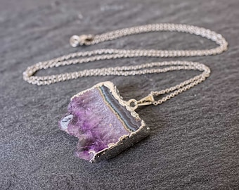 Raw crystal necklace Raw amethyst necklace Raw amethyst slice necklace Crystal point necklace Mineral necklace On non tarnish steel chain