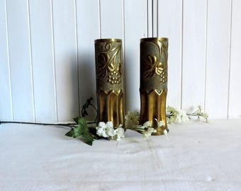 WW1 Trench art vases, antique French military memorabilia, cartridge or bomb shell