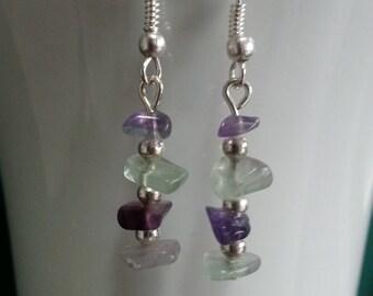 Purple and Green Fluorite Earrings
