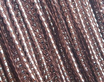 10 meters of chocolate brown stripe Ribbon and silver 6 mm