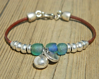 Women leather bracelet,leather bracelet,leather bracelet for women,beaded bracelet, silver plated,PV013
