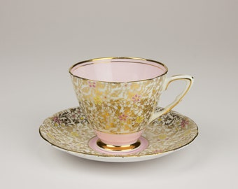 Vintage Royal Stafford China Gold/Pink Pattern 8201 Cup & Saucer