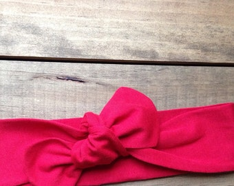 Solid Red Knotted Head Wrap...Valentine's Day... Red...Baby turban... Headwrap...
