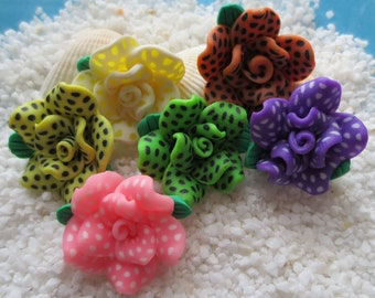 Polymer Clay Flower Beads - 25mm x 12mm - 12 pcs - CHOICE OF COLOR