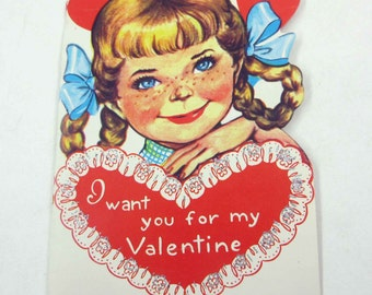 Vintage Children's Valentine Greeting Card with Pretty Girl in Braids Pigtails Freckles