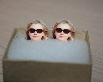 Hillary Clinton Stud Earrings Political Jewelry President 2016 Election Glasses