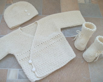 baby boy outfit ivory sweater, hat and socks, baptism sweater, cardigan, boy sweater coming home outfit, knitted clothes newborn, babyshower