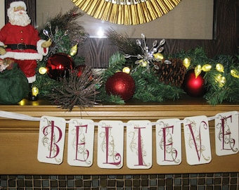 Believe in the Magic of Christmas Banner Garland QueenBeeInspirations
