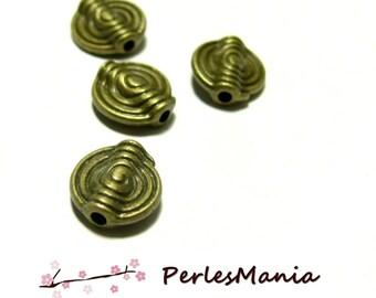 10 round spiral spacer beads 11mm H025 BRONZE, DIY
