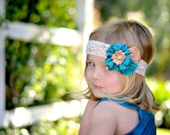 Teal Bronze Headband, Bronze Flower Headband, Flower Girl Headband, Baby Shower Gift, Newborn Photo Prop, Teal Flower Headband, Teen, Adult