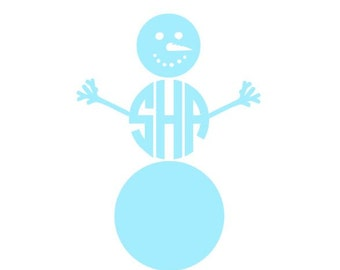 Snowman Monogram instant download digital cutting file for cutting machines - SVG EPS PS Studio3 Studio (monogram font sold separately)