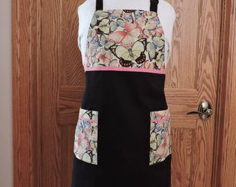 Full apron butterfly print on black twill
