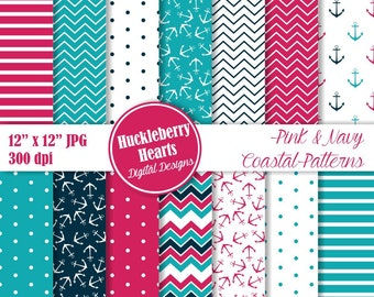 Nautical Digital Paper, Nautical Scrapbook Paper, Coastal Patterns, Anchors, Chevron