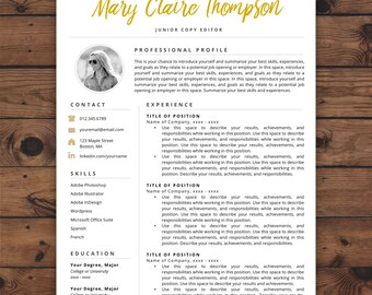 Creative Resume Template | Resume with Photo | Instant Download Resume | Resume Icons | Resume Template Word & Pages