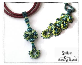 Beading Patterns, Instructions, Tutorials, Curved Cubic Right Angle Weave CRAW Detachable Pendant Elements Instant Download Pattern QUILLIAN