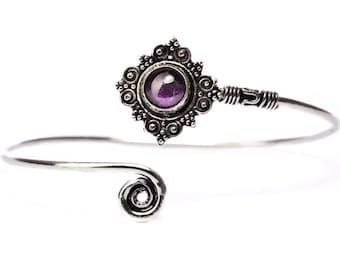 Boho Tribal Bangle Amethyst  Gemstone Bracelet Adjustable Gift Boxed + Giftbag + Free UK Delivery WBB4