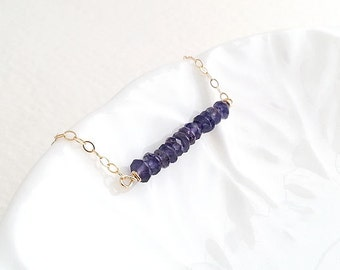 Iolite Necklace, Bar Necklace, Sapphire Blue Bar, Gold Filled Necklace, Layering Layered, Iolite Bar, Purple Bar