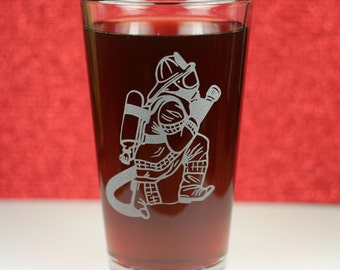 Firefighter etched Pint Glass