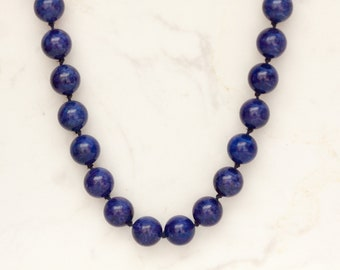 26 Inch Lapis Bead Necklace with 14k Solid Yellow Gold Clasp
