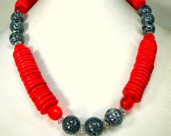 Handmade Tribal Red Black Clear Bead Necklace, All Recycled Ecochic Vintage Beads, OOAK by Rachelle Starr 2017