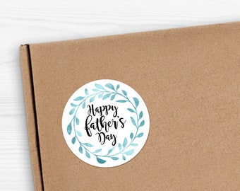 "Happy Father's Day Stickers - 1.625 x 1.625"" Circles 24 Per Sheet - Gift Fathers Day For Dad Sticker Set Father Papa Poppa Daddy Leaf Wreath"