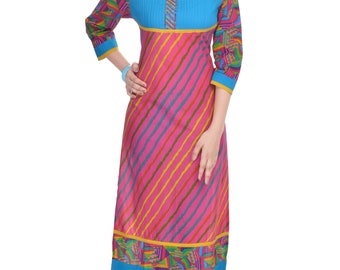 Shop Rajasthan Casual Striped Multicolor Cotton Printed Knee Length Kurti(SRE2234)