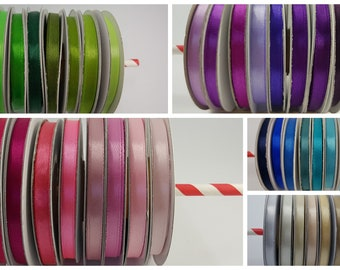 Set of 8 spools of Ribbon 6 mm wide and 25 m long either 200 m Ribbon packs lot to choose colors