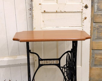 Vintage Singer Sewing Machine Treadle Table with Sapele Hardwood Top -- Custom Options Available