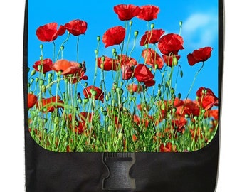 Red Poppies - Large Black School Backpack