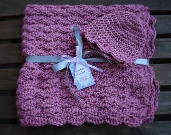 Crochet Baby Blanket with Matching Hat - Plum Wine