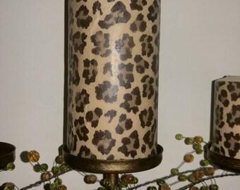 "Large 3""x6"" Leopard Cheetah Print Candle"