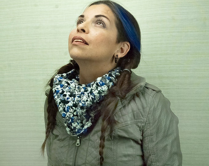 Infinity Cowl Scarf Fuzzy Blue, White and Grey  Circle  Handmade Christmas Gift Ready to ship
